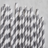 Grey Retro Barber Striped Paper Straws Set of 144