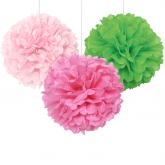 Light Pink, Hot Pink and Lime Party Pom Pom Set of 3