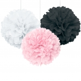 Light Pink, White and Black Party Pom Pom Set of 3