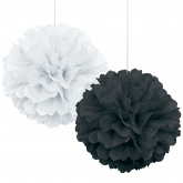 Black and White Pom Pom Set of 2