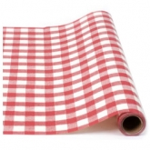 Italian Red and White Gingham Table Wrap 50 Foot Paper Runner