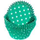 Teal Green Polka Dots Baking Cups