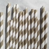 Gold and White Striped Paper Straws Set of 23