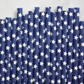 White Stars Navy Paper Straws Set of 23