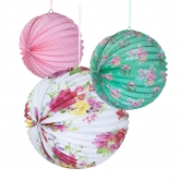 Flowers Paper Lanterns Set of 3