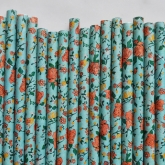 Teal Blue Vintage Flowers Paper Straws Set of 23