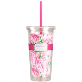 Pink Colony Lilly Pulitzer Acrylic Tumbler with Straw