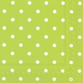 Lime and White Small Polka Dots Luncheon Paper Napkins