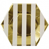 Gold and White Stripes Hexagonal Paper Plates