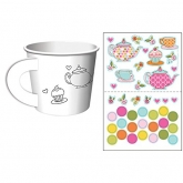 Tea Time Coloring and Stickers Paper Cups