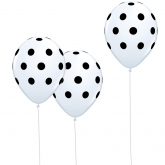 White and Black Polka Dot Balloons Set of 10