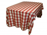 Red Gingham Picnic Tablecloth with Black Blanket Stitching