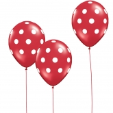 Red and White Polka Dot Balloons Set of 10