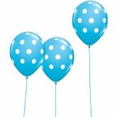 Blue and White Polka Dot Balloons Set of 10