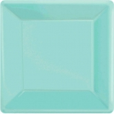 Robin's Egg Blue Square Dinner Paper Plates Set of 20