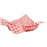 Picnic Party Red and White Gingham Basket Liners Set of 18