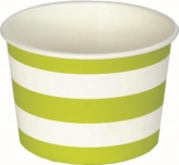 Lime and White Stripe Ice Cream Cups