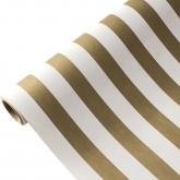 Gold and White Stripe 25 Foot Paper Runner
