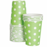 Lime Green and White Polka Dot Paper Cups