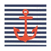 Yacht Club Navy and White Stripe with Red Anchor Cocktail Paper Napkins