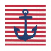 Yacht Club Red and White Stripe with Navy Anchor Cocktail Paper Napkins