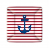 Yacht Club Red and White Stripe with Navy Anchor Dessert Paper Plates