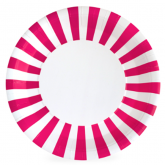 Pop Pink and White Stripe Paper Plates
