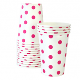 Pop Pink and White Polka Dot Paper Cups