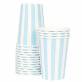 Powder Blue and White Stripes Paper Cups