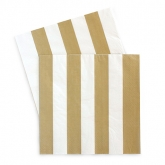 Gold and White Horizontal Luncheon Paper Napkins