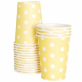 Yellow and White Polka Dot Paper Cups