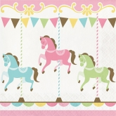 Pink Carousel Luncheon Paper Napkins