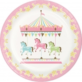 Pink Carousel Dinner Paper Plates