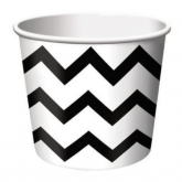 Black and White Chevron Stripe Ice Cream Cups