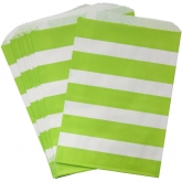 Lime and White Stripe Favor Bags Set of 24