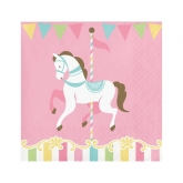 Pink Carousel Cockail Paper Napkins