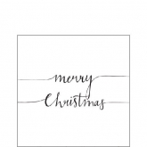 Merry Christmas Black and White Cocktail Napkins