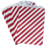 Red Candy Stripe Paper Bags Set of 24