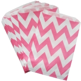 Bubble Gum Pink Chevron Favor Bags Set of 24