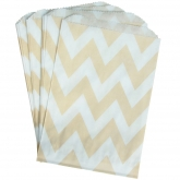 Cream Chevron Paper Treat Bag Set of 24