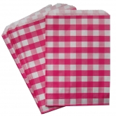 Pink Gingham Favor Bags Set of 24