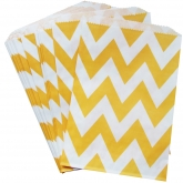 Yellow Chevron Paper Bags Set of 24