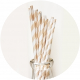 Cream and White Striped Paper Straws Set of 23