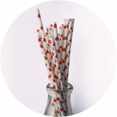 Red Hearts Retro Paper Straws Set of 23