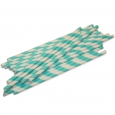 Aqua and White Barber Striped Paper Straws Set of 23