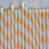 Creamsicle Orange and White Striped Paper Straws Set of 23