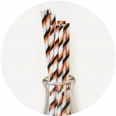 Orange and Black Striped Paper Straws Set of 23