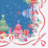 Retro Merry Christmas Luncheon Paper Napkins