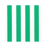 Green and White Wide Stripes Beverage Napkins