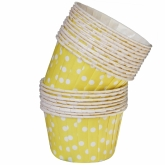 Yellow and White Polka Dots Small Paper Squeeze Cups Set of 20